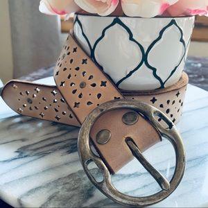 Blush Pink Distressed BOHO Genuine Leather Belt